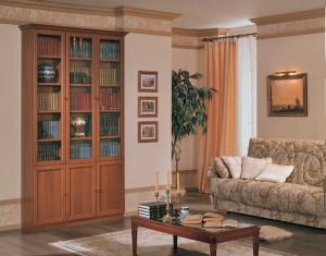 книжный со стеклом в квартире