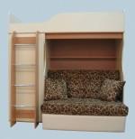кровать чердак с диваном внизу леопард