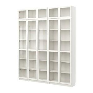 Белый книжный со стеклом
