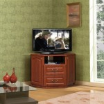 угловая тумба под телевизор и зеленые обои